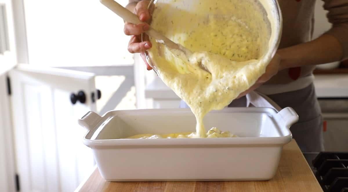 Transferring souffle mixture to a casserole dish