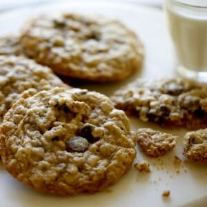 Chewy Oatmeal Chocolate Chip Cookie on a cake stand