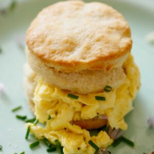 Soft Scrambled Eggs with Buttermilk Biscuit sandwich