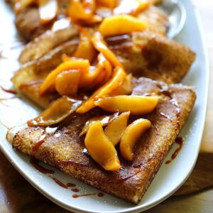 Apple Crepes with Salted Caramel Sauce