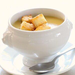 Potato Leek Soup No Cream in a white Bowl