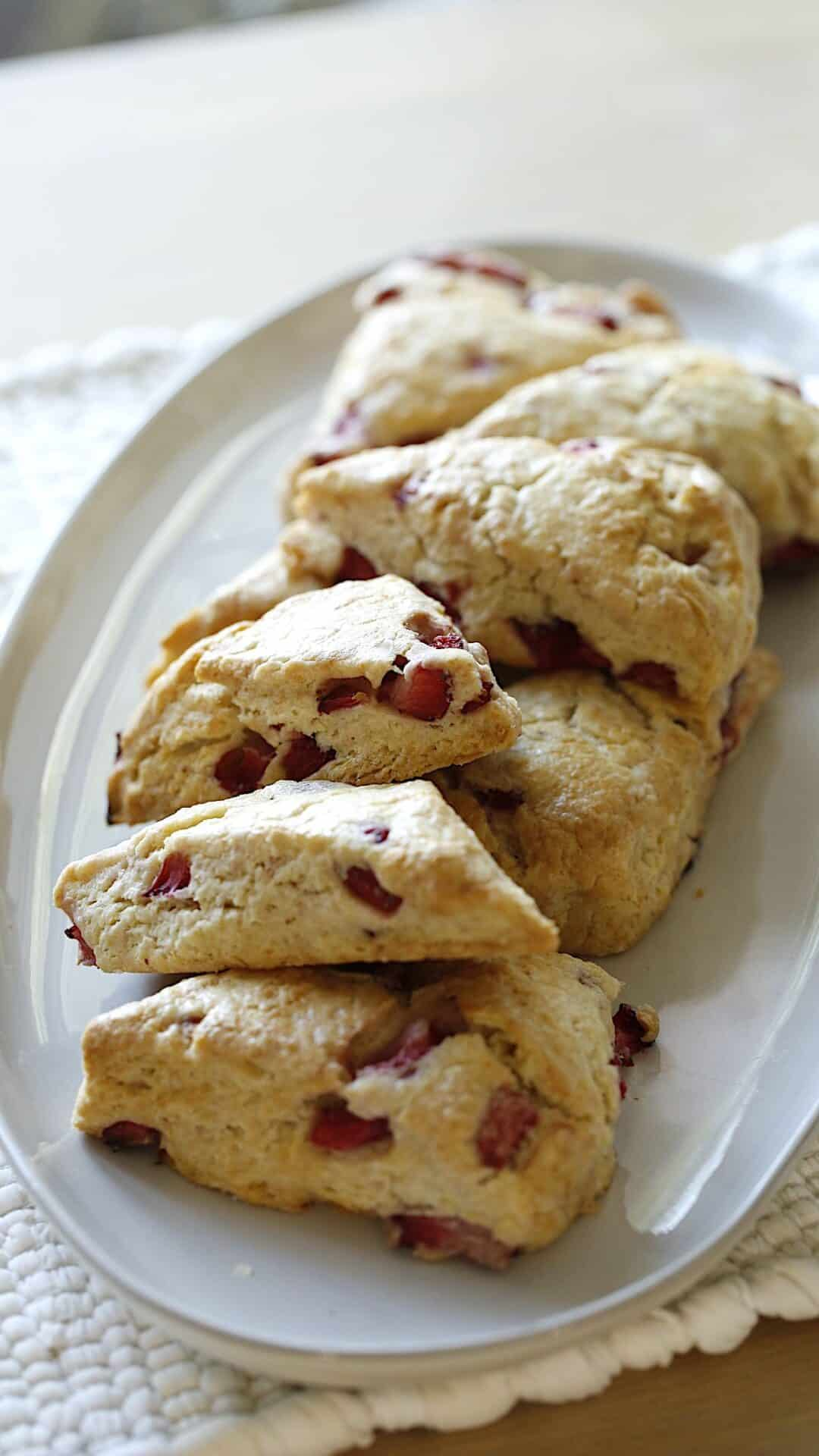 Strawberry Scones on a platter