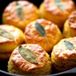 Sweet Potato Biscuits with Sage leaves on top