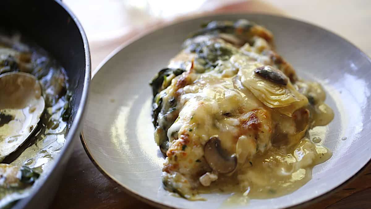 Chicken Bake with Spinach Artichokes and Mozzarella