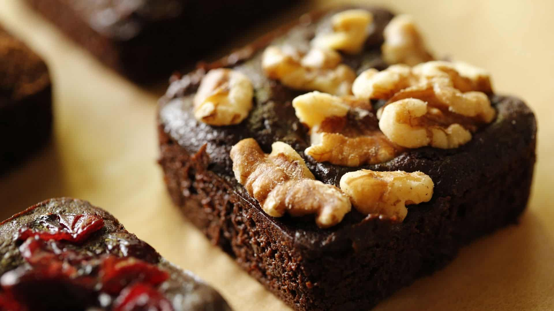 Fudgy Brownies with walnuts on top