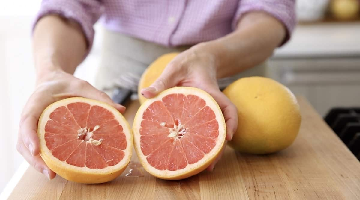 a ruby red grapefruit sliced open to see color