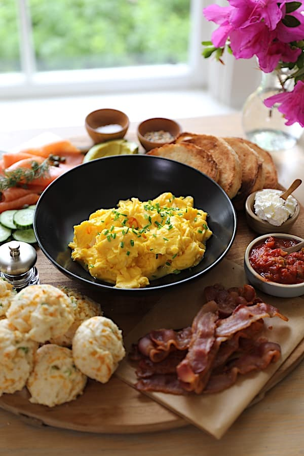Verticak Image of a Breakfast Board loaded with Breakfast foods