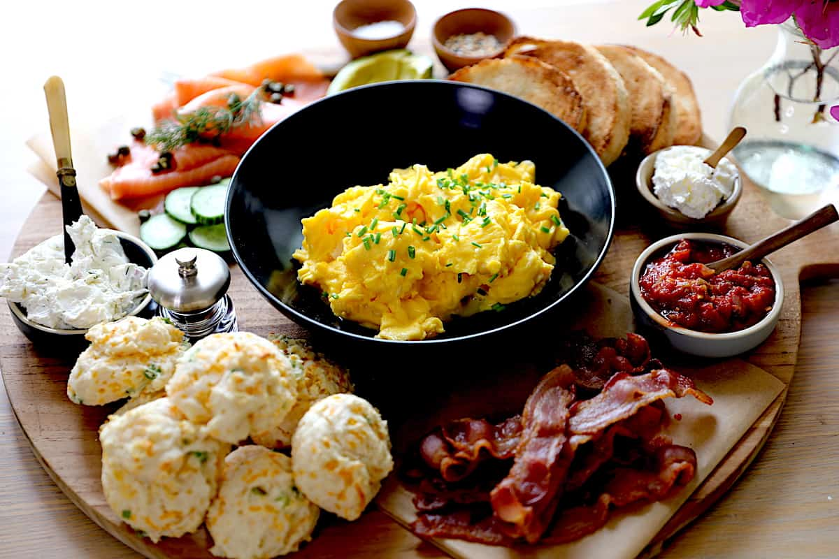 Breakfast Board loaded with Ingredients