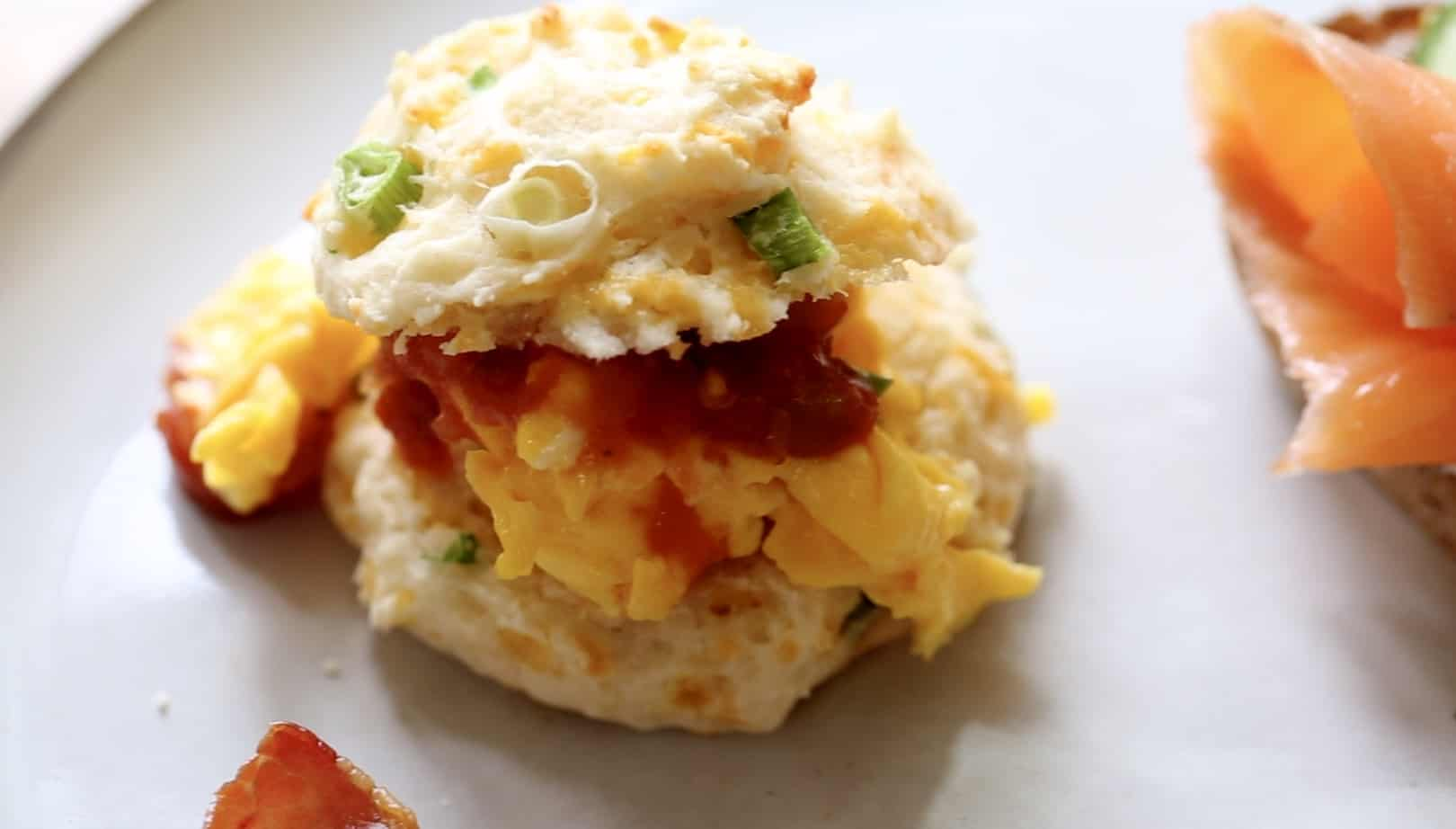 Breakfast Biscuit Sandwich with eggs and salsa