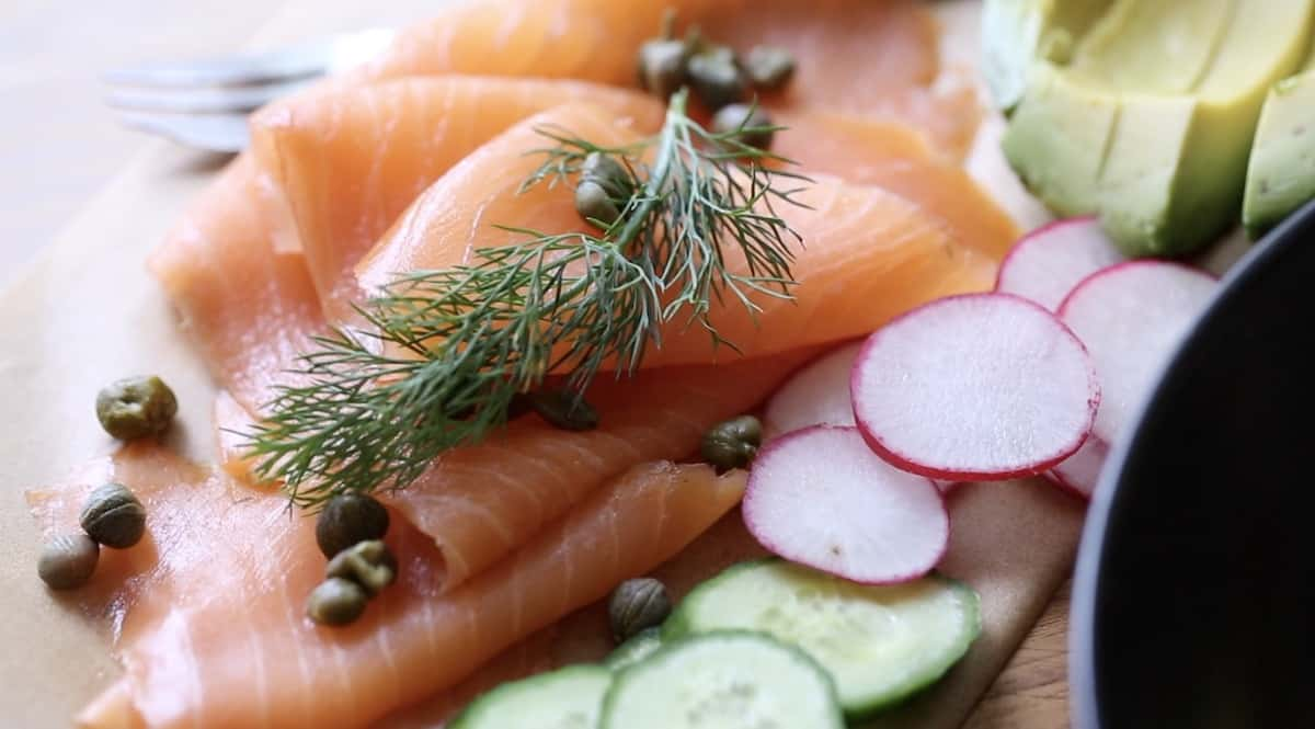 Smoked Salmon Rolled decoratively with capers and dill