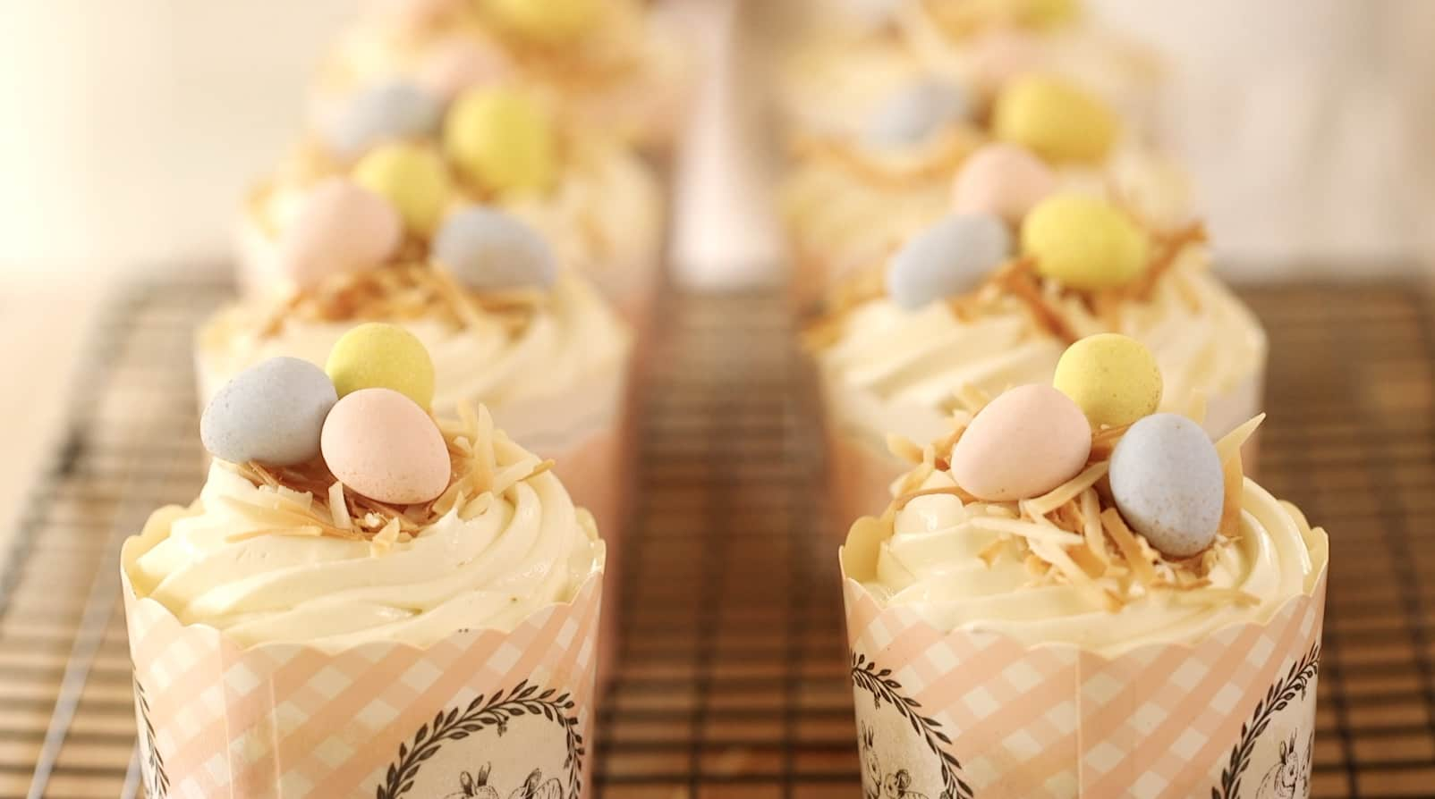 A row of Easter Cupcakes