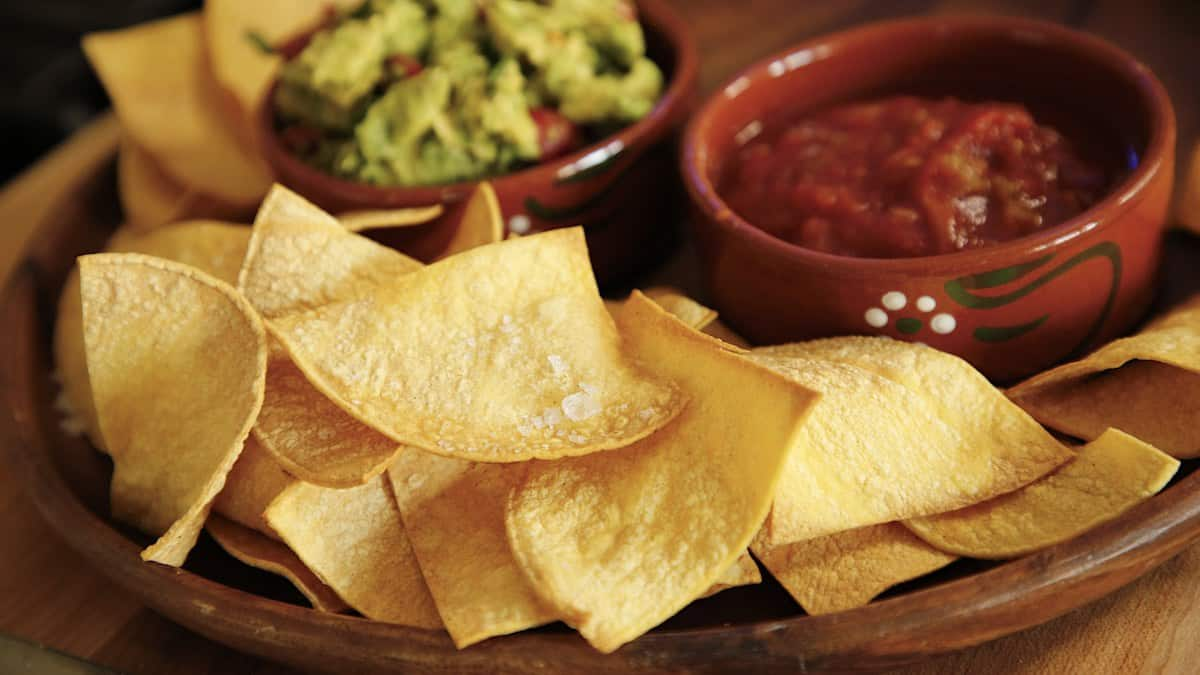 Air Fryer Tortilla Chips with Salsa and Avocado