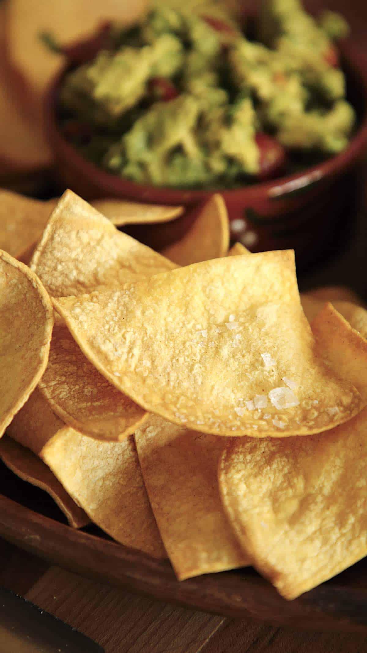 Close up of salt on a tortilla chips