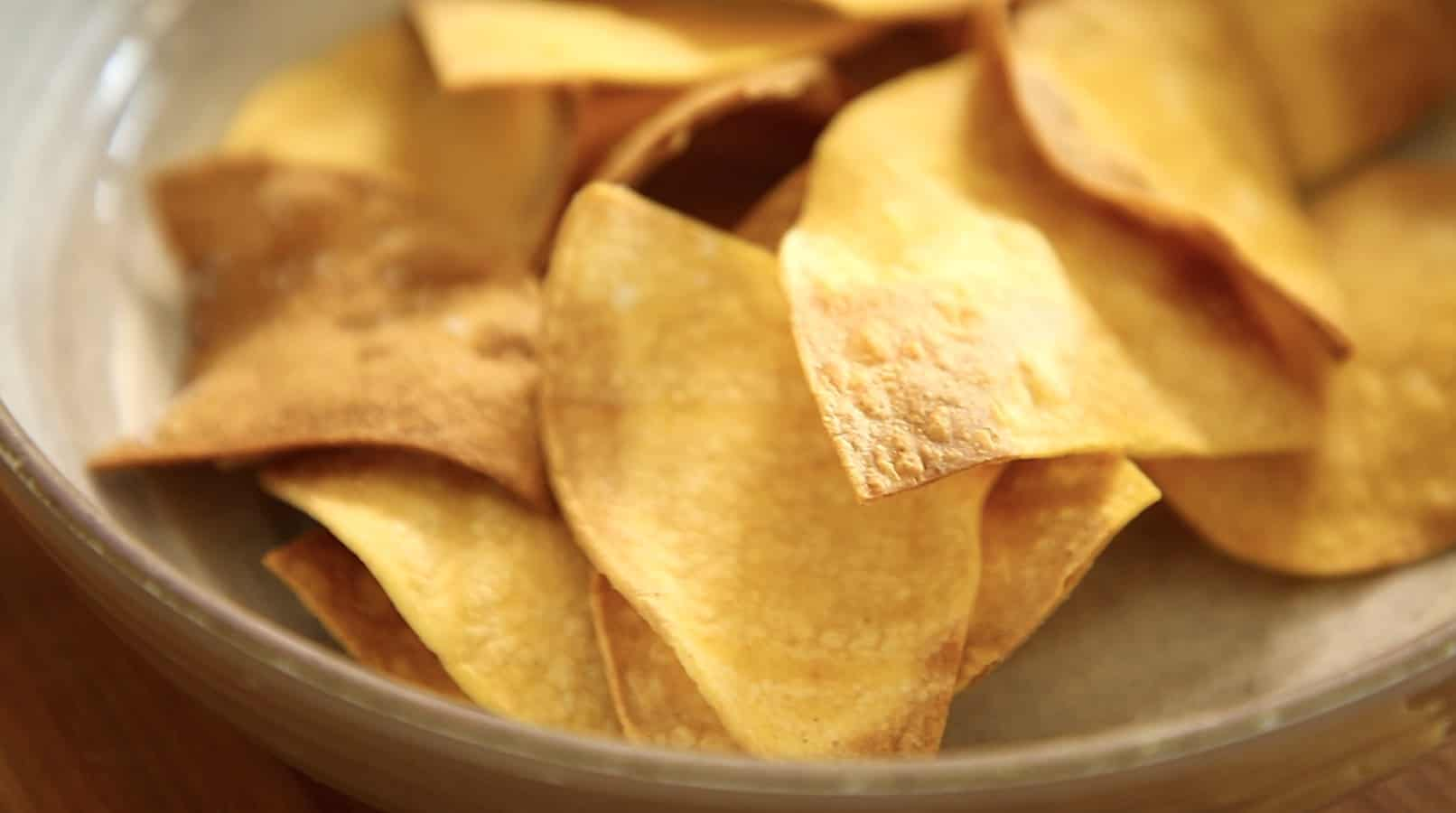 burnt tortilla chips that were air fried at too high of a temperature