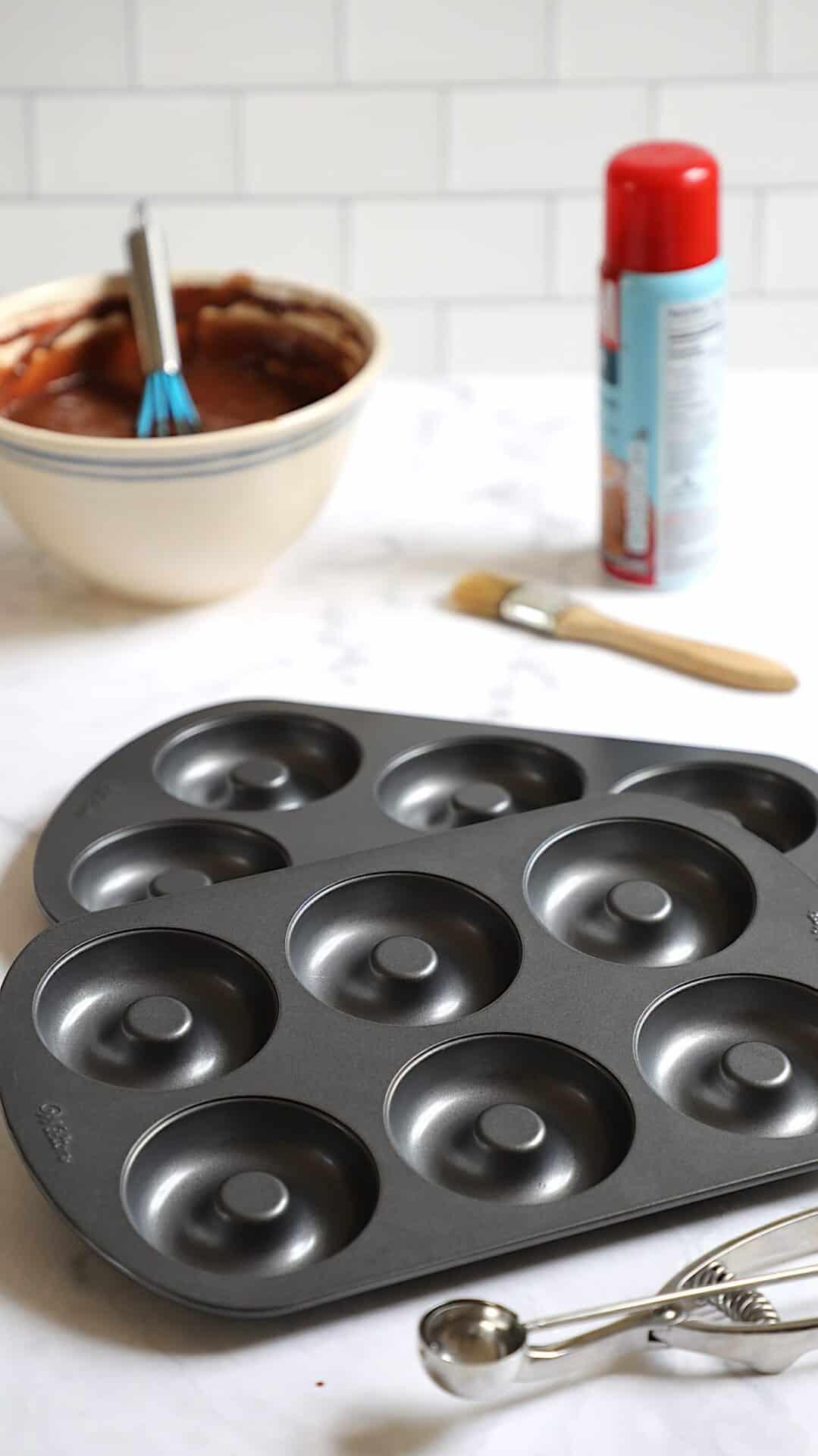 Donut Pans, baking spray and batter bowl