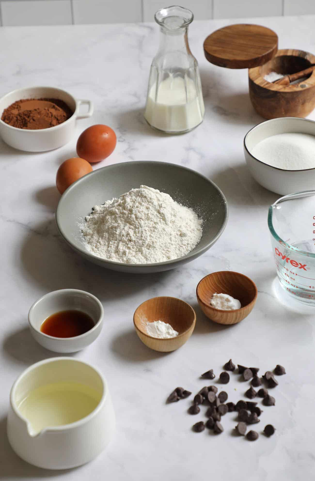 Ingredients for recipes laid out on the counter